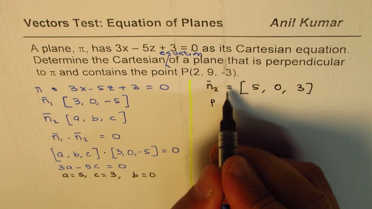 perpendicular planes equation. find cartesian equation of plane perpendicular to given passing through a point planes