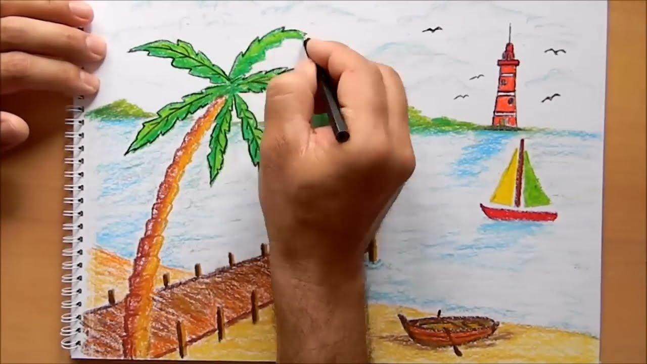 Pastel Boya Manzara çizimi Pastel Deniz Manzarası