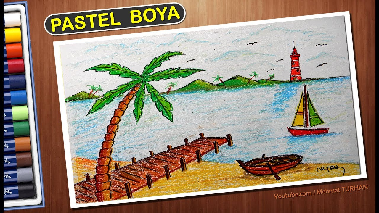 Pastel Boya Manzara çizimi Pastel Deniz Manzarası çalışması