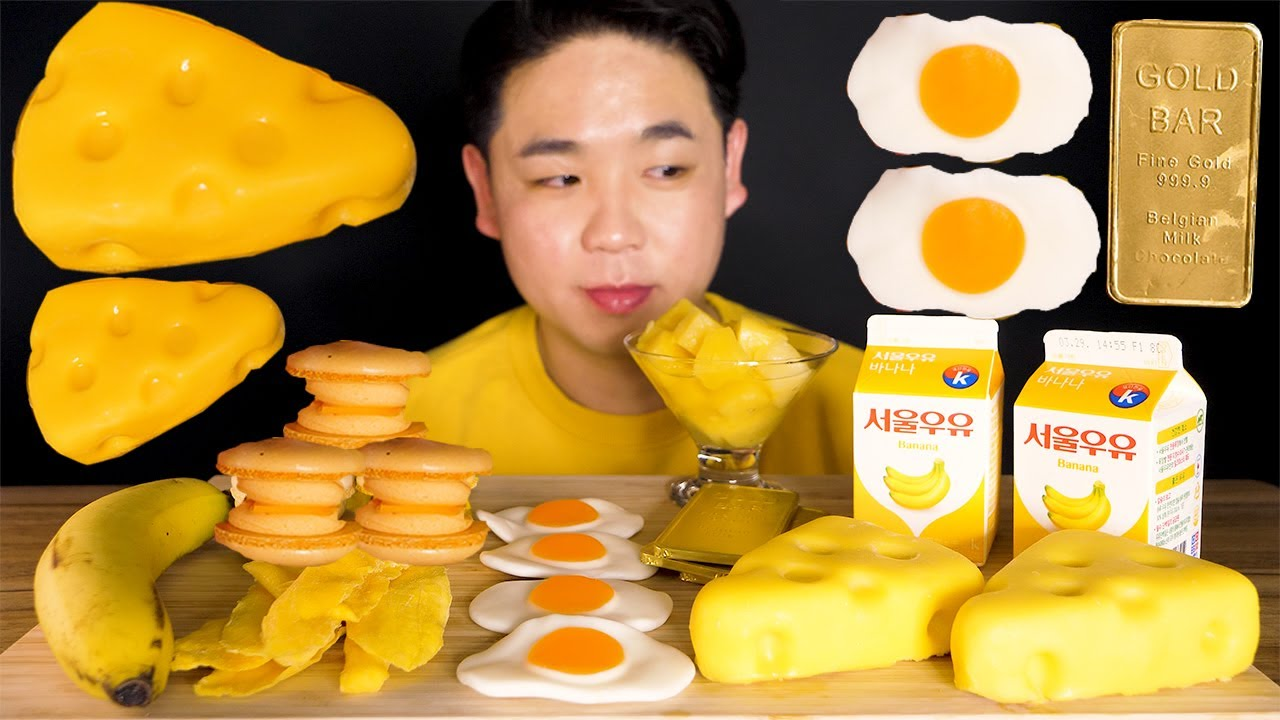 ASMR YELLOW FOOD 노란색 디저트 마카롱 치즈케이크 젤리 골드바 먹방 CHEESE CAKE MACARON DESSERT YELLOW FOOD EATING SOUND