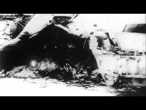 USS Newcomb and the USS Leutze damaged by Japanese suicide planes in the Pacific ...HD Stock Footage
