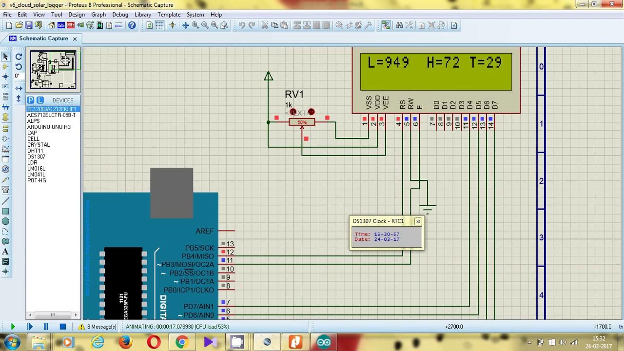 Iot solar panel simulation using proteus and arduino uno