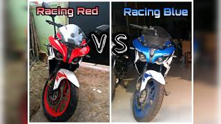 Pulsar RS 200 racing red vs racing blue colour comparison.