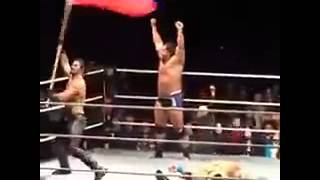 DRUNK?......WWE Seth Rollins waving the russian Flag wwe live show