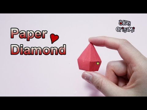 Okay! ll Origami Paper Folding Diamond (Jewelry), 折り紙 宝石, 종이접기 다이아몬드