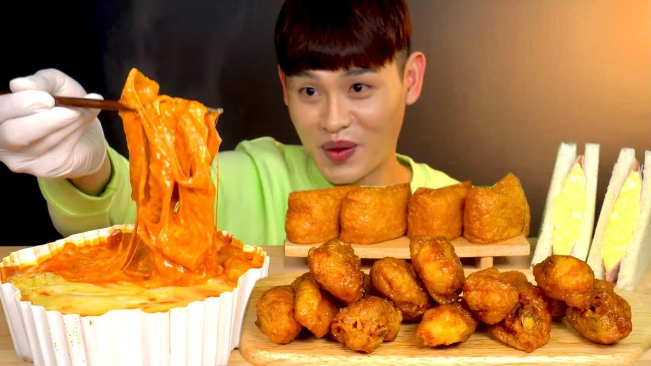 ASMR 🧀🧀+2 엽기떡볶이 초보맛 국민조합 바삭한 허니콤보먹방~! Cheese +2 Spicy Tteokbokki With Chicken Legs Wings MuKBang~!