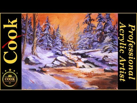 Change your Art by Changing Seasons  Winter Sunset Step by Step Acrylic Tutorial
