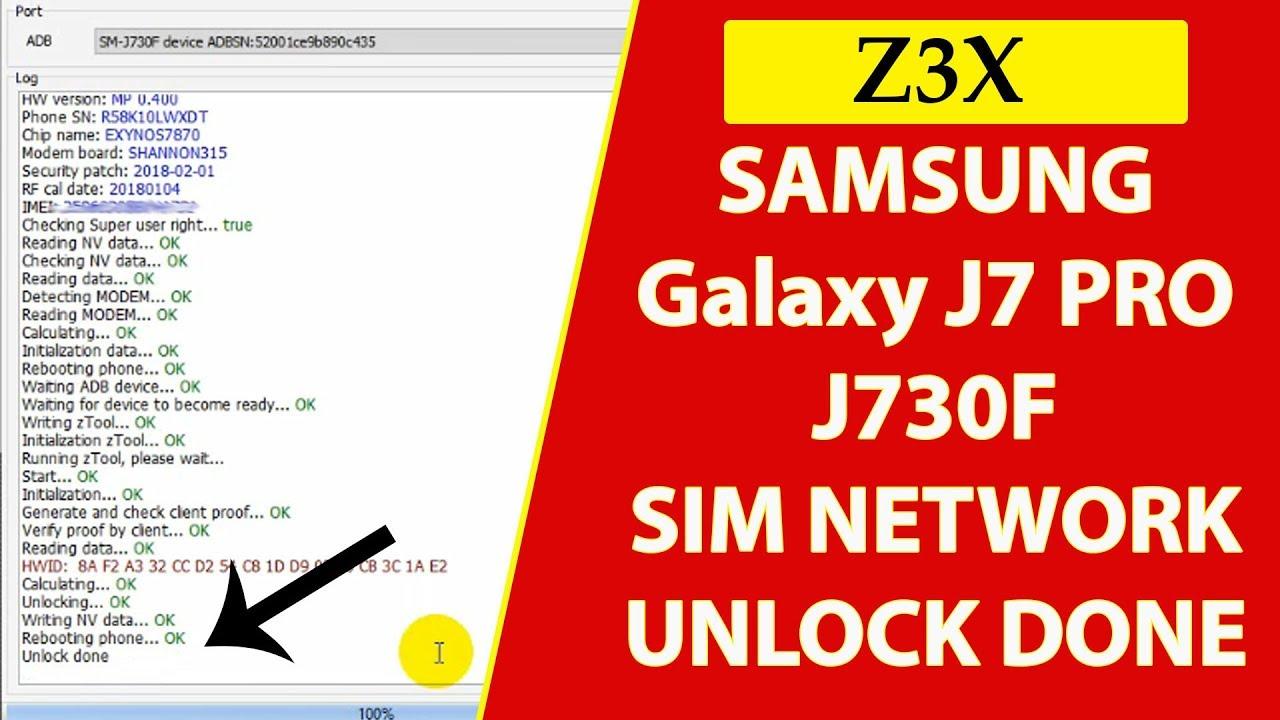 SAMSUNG Galaxy J7 PRO SIM NETWORK UNLOCK DONE BY Z3X