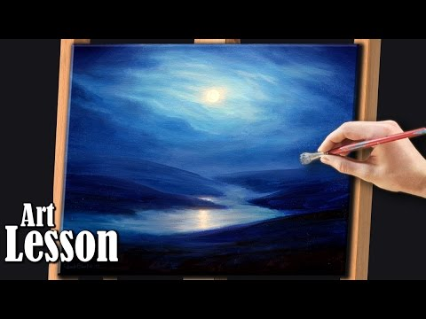 LANDSCAPE PAINTING DEMO | A full moon night