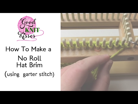 Loom Knit Hat Brim that doesnt roll in Garter Stitch - YouTube