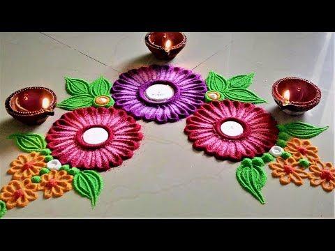 Corner Rangoli Designs with Flowers| Innovative Rangoli by Shital Mahajan.