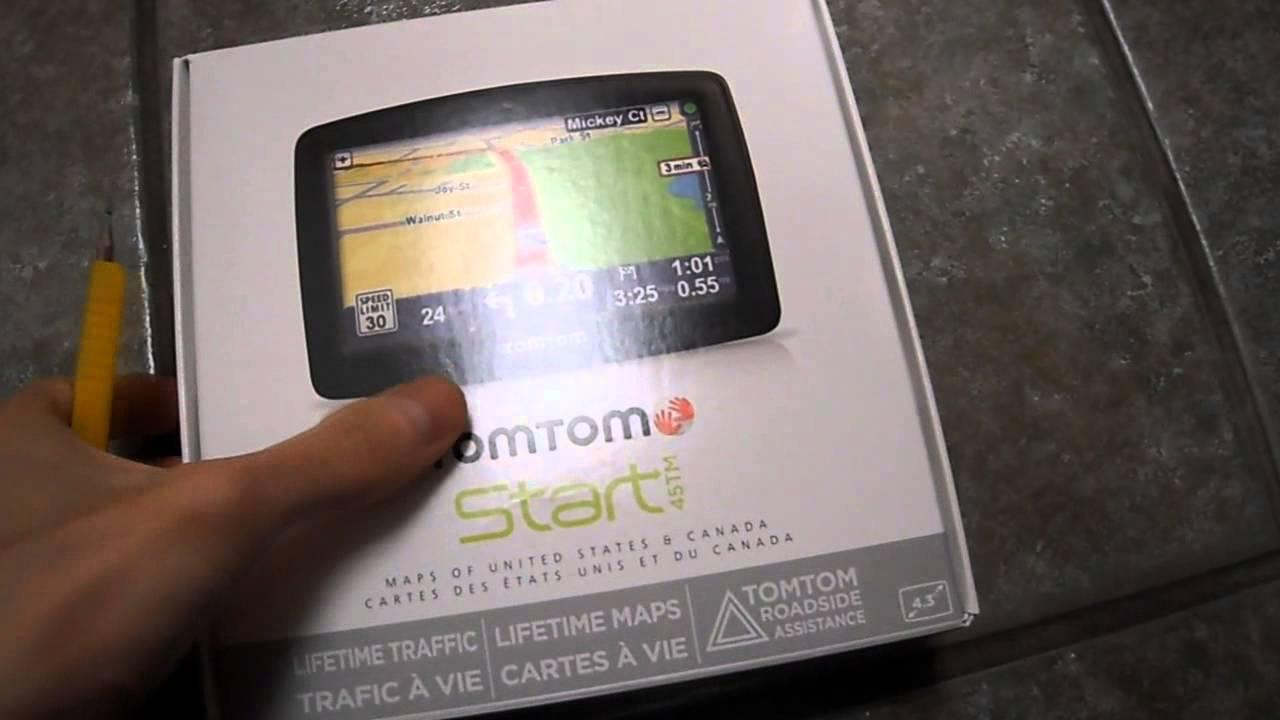 Unboxing TomTom GPS Start 45TM 45 M TM Tom Lifetime Maps Road Side  Assistance Live Fuel Gas Prices