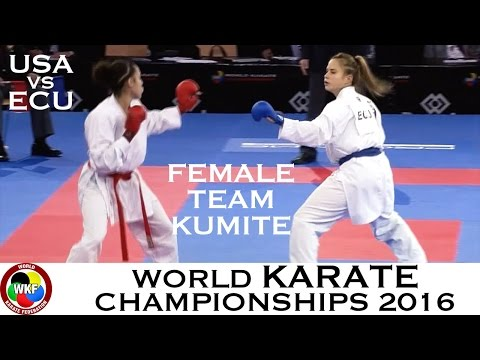 BRONZE. (1/3) Female Team Kumite USA vs ECU. 2016 World Karate Championships
