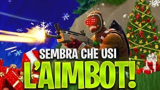 SEMBRA THAT USI THE AIMBOT! 21 CRAZY BOMBS FORTNITE ITA