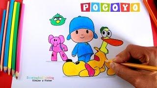 Cómo dibujar a POCOYO y sus Amigos (Elly, Pato, Pajaroto, Loula) | How to draw Pocoyo and Friends