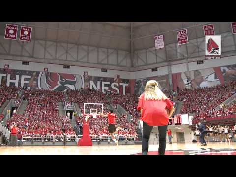 Ball State University student gets a chance to win free tuition if he can sink a half court shot