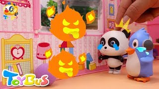 Help! Baby Panda's Trapped in a Big Fire   Super Firefighter Rescue Team   Kids Safety Tips   ToyBus