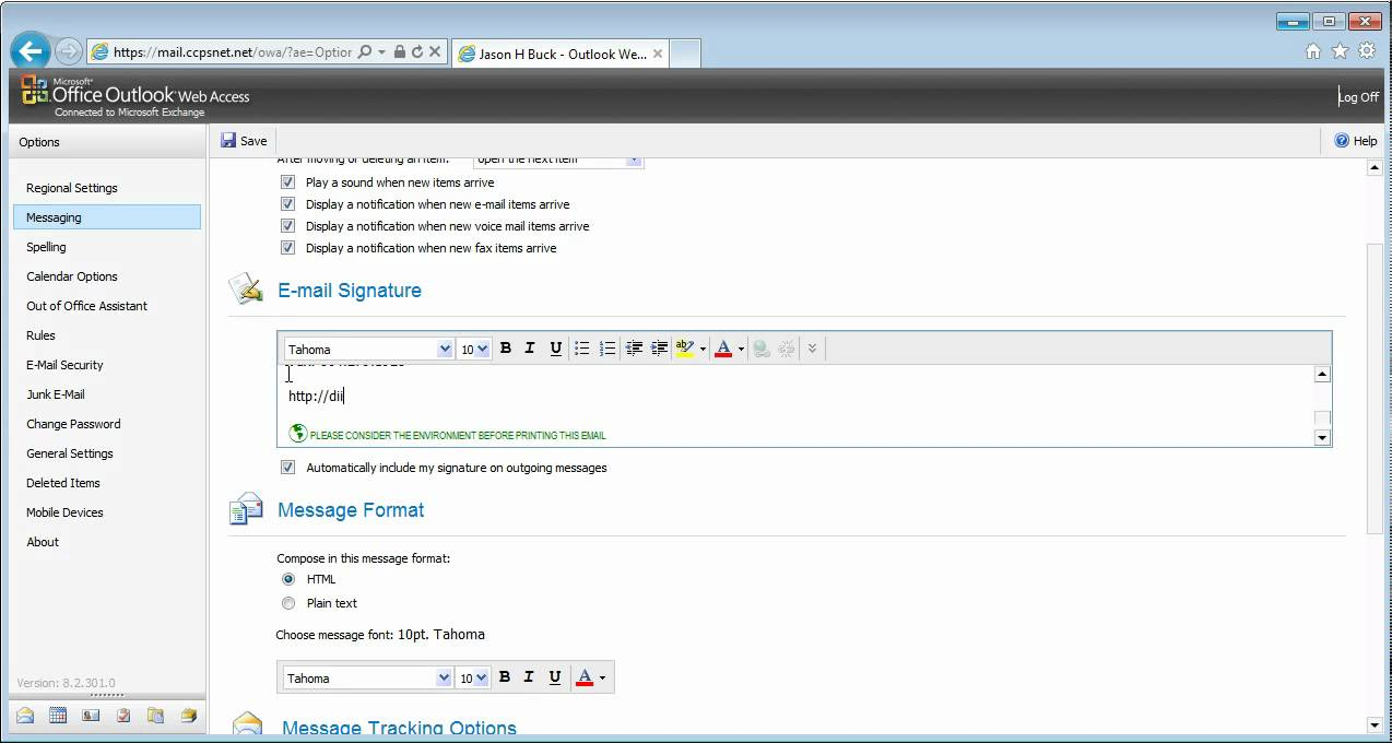 how to set signature in web outlook