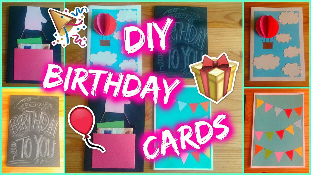 DIY 4 Easy Birthday Card Ideas YouTube – Homemade Birthday Cards Ideas