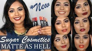 *NEW* SUGAR Cosmetics Matte As Hell Crayon Lipsticks REVIEW & SWATCH 7 SHADES MAH