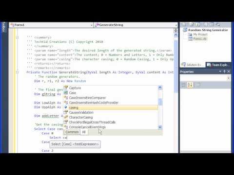Tech Kid - VB .NET Tutorial - Random String/Text Generator