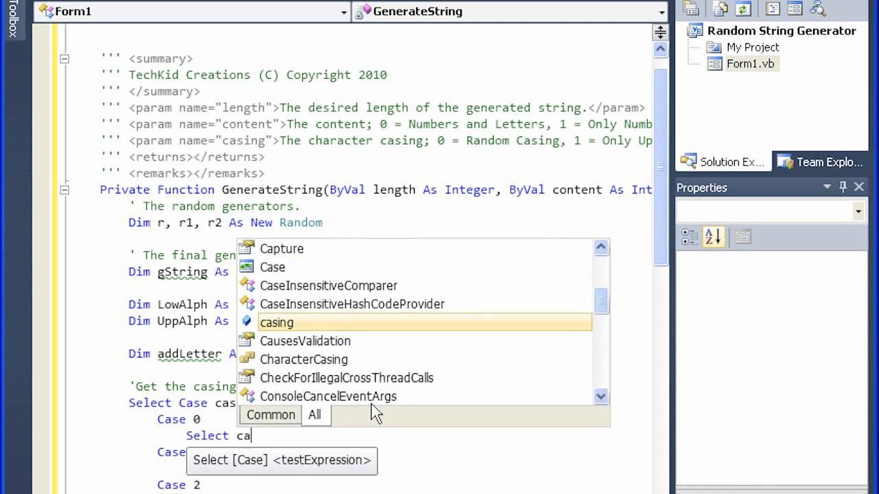 Tech Kid VB NET Tutorial Random String Text Generator