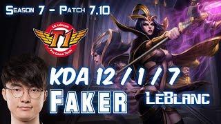 SKT T1 Faker LEBLANC vs KASSADIN Mid - Patch 7.10 KR Ranked