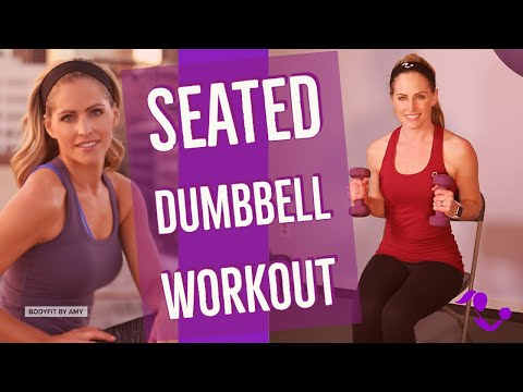 14 Min BodySit Seated Dumbbell Chair Workout: Sitting Down Exercises with Weights for Strength