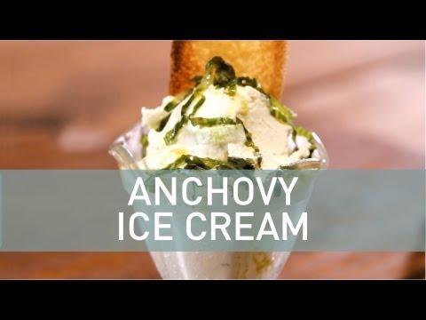 Anchovy Ice Cream Over Fresh Crouton & Shaved Romaine with Lemon Vinaigrette Ice Cream