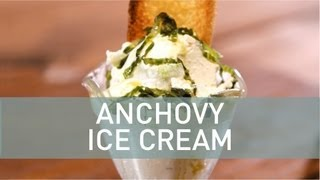 Anchovy Ice Cream Over Fresh Crouton & Shaved Romaine With Lemon Vinaigrette Ice Cream