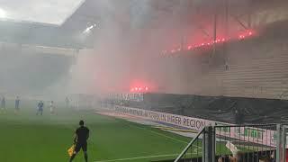 Magdeburg gegen Rostock     Pirotechnik Gedenken an Hannes