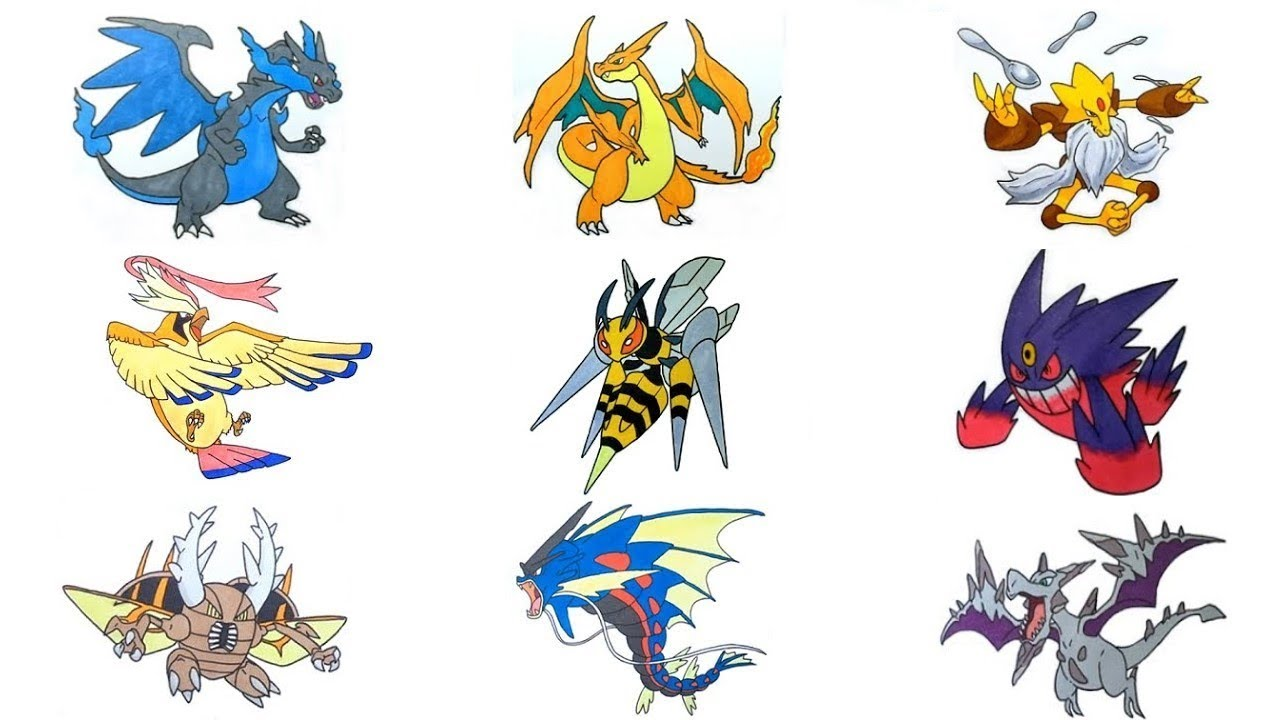 Mega Pokemon coloring pages for