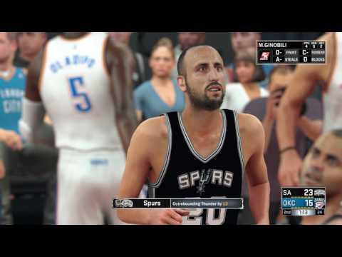 NBA 2K17 - San Antonio Spurs vs Oklahoma City Thunders - Full Match - [PS4/XB1] Gameplay