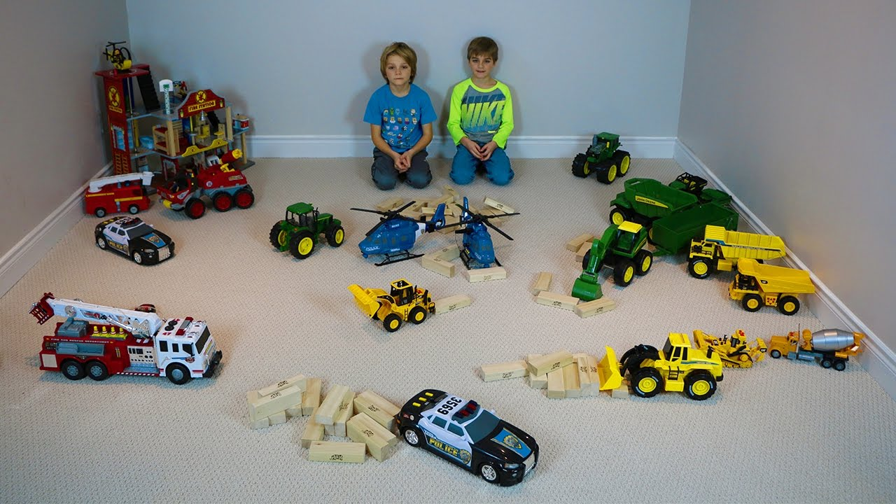 Germany Building Toys For Boys : Boys playing with firetrucks john deere tractors blocks