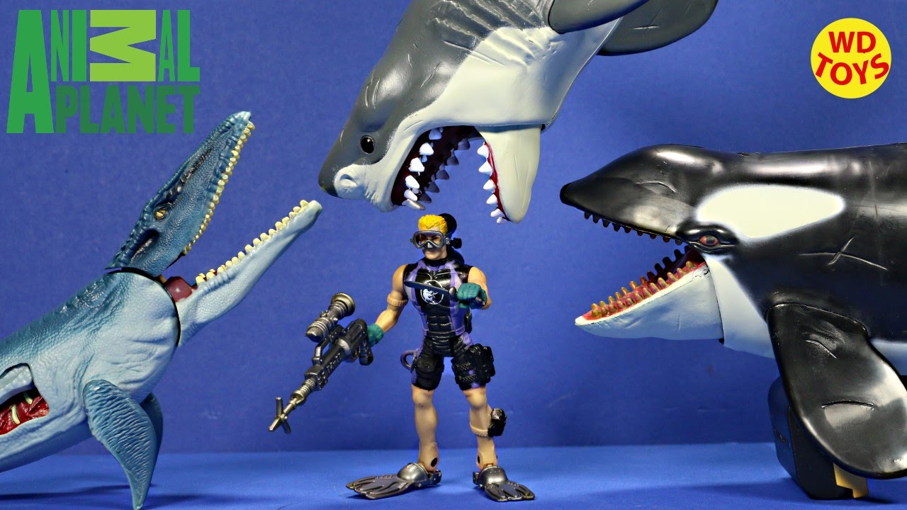 Shark Toys For Boys And Dinosaurs : New animal planet mega shark orca encounter vs