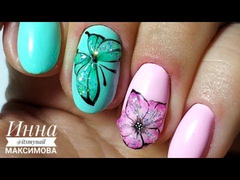 Дизайн бабочки на ногтях гель лаком