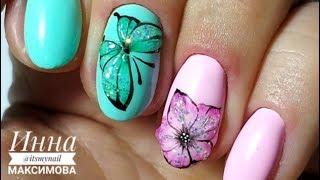 ❤  ЭКСПРЕСС дизайн за 2 МИНУТЫ ❤  БАБОЧКА на ногтях ❤  Дизайн ногтей гель лаком ❤