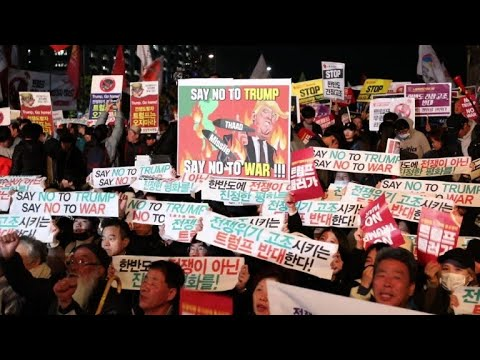 South Korean pro and anti-Trump protesters rally in Seoul