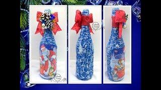 dIYМОРОЗНЫЕ УЗОРЫДЕКОР ШАМПАНСКОГО к Новому году салфеткамиДекупаж бутылкиМастер класс