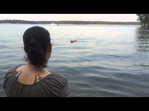 Penny swimming at Lake Jordan (Johnson?) NC