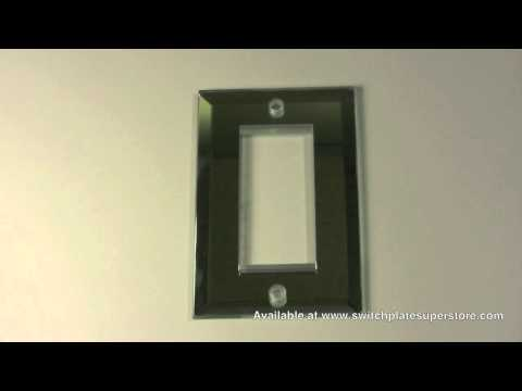 Beveled mirror switch plate or GFCI wall plate cover