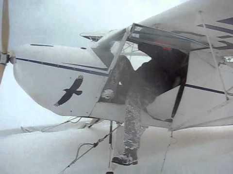 Deep snow London ontario Ski plane Kitfox raven Dave's Farm