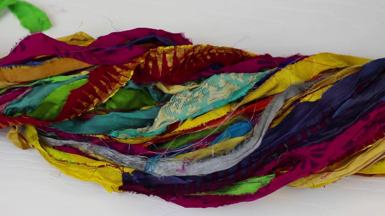 At the Bahamas: Multi Colored Sari Silk Ribbon Yarn