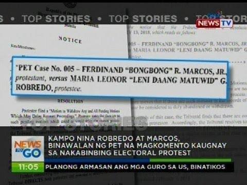 Robredo at Marcos, binawalan na ng PET na magkomento kaugnay sa nakabinbing electoral protest