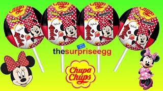4 Chupa Chups Surprise Lollipops Minnie Mouse Surprise balls toys unboxing opening