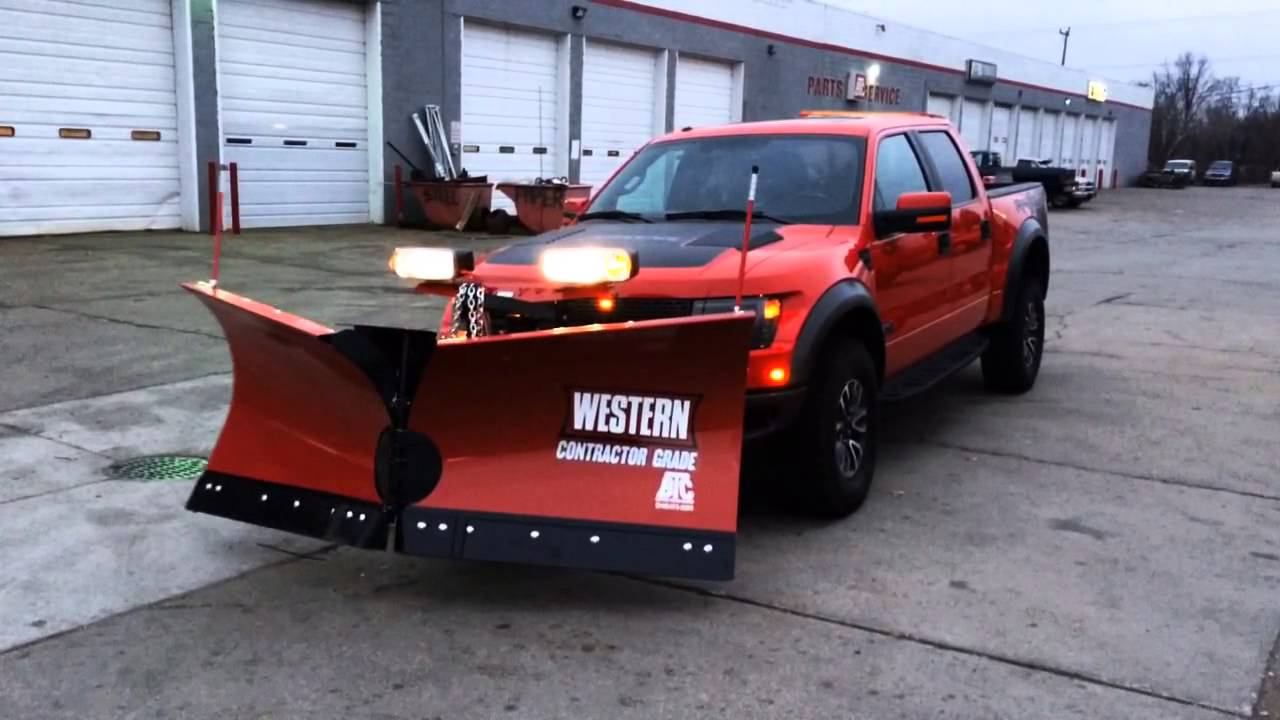 Ford Raptor Western MVP3 Snow Plow - YouTube