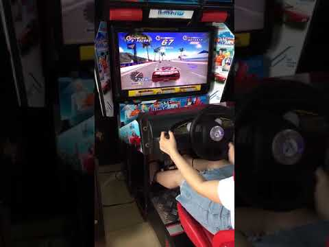 Outrun Car Racing Game Machine Play By Girl