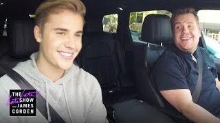 Justin Bieber Carpool Karaoke(James and Justin Bieber carpool through Los Angeles singing some of Justin's classic songs, and James challenges him to finish a Rubik's Cube.