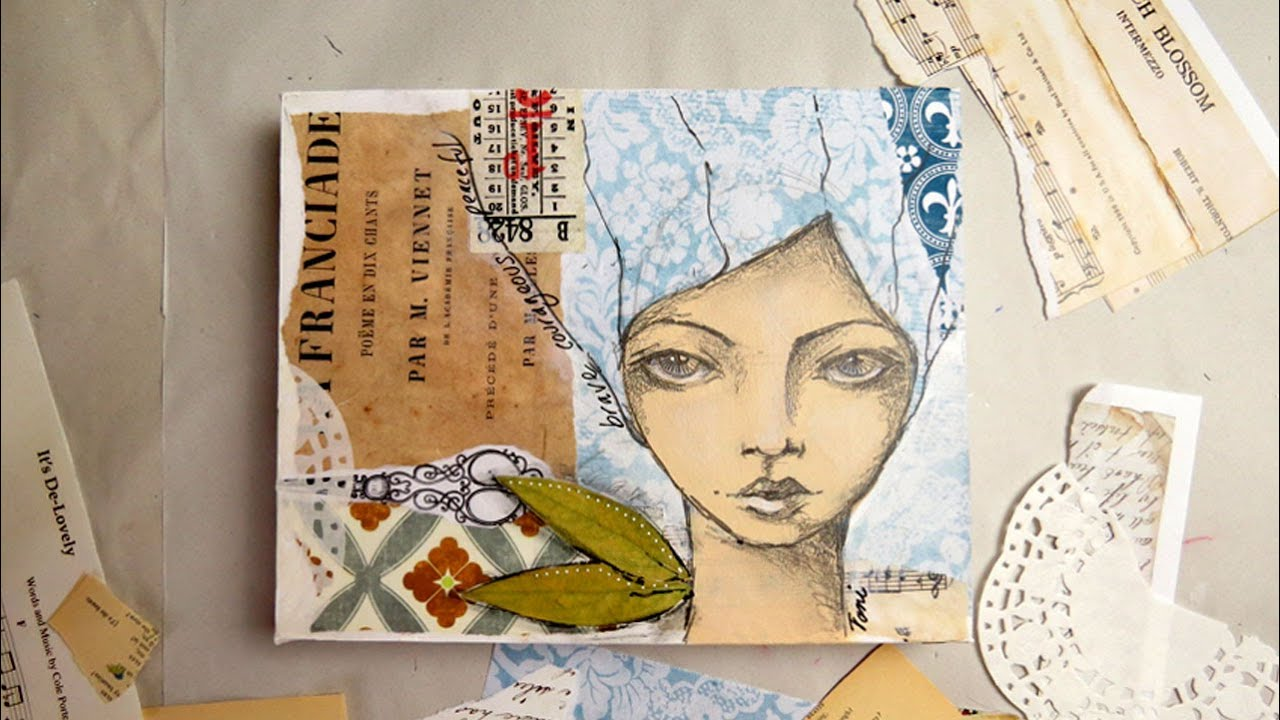 Creating a mixed media girl using collage and pencil sketch
