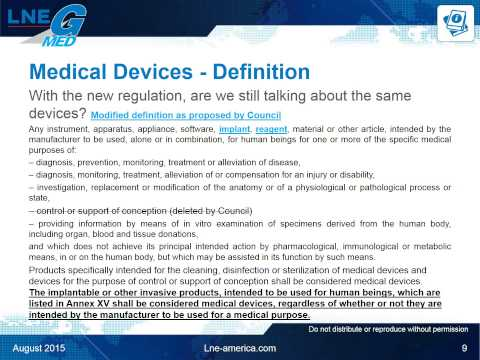 Reclassification of Medical Devices, upcoming revisions of E